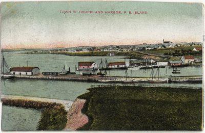 , Town or Souris and Harbor, P.E. Island. (1454), PEI Postcards