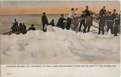 , Striking Board, Ice Crossing at the Capes from Prince Edward Island to the Mainland. (1470), PEI Postcards