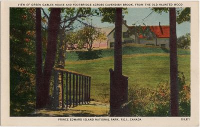 , View of Green Gables House and Footbridge across Cavendish Brook, from the Old Haunted Wood. (1498), PEI Postcards