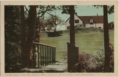 , View of Green Gables House and Footbridge across Cavendish Brook, from the Old Haunted Wood. (1499), PEI Postcards