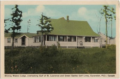, Shining Waters Lodge, overlooking Gulf of St. Lawrence and Green Gables Golf Links, Cavendish,     P.E.I. Canada (1506), PEI Postcards