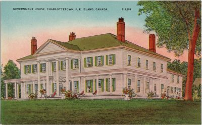 , Government House, Charlottetown, P.E. Island, Canada. (1515), PEI Postcards