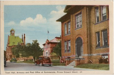 , Town Hall, Armoury and Post Office at Summerside, Prince Edward Island. (1517), PEI Postcards