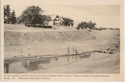 , Green Gables and 9th Green at Green Gables Golf Course, Prince Edward Island National Park.     National Film Board Photo (1553), PEI Postcards