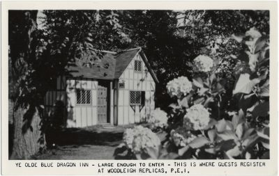 , Ye Olde Blue Dragon Inn – large enough to enter – this is where guests register at Woodleigh     Replicas, P.E.I. (1570), PEI Postcards