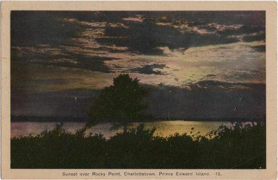 , Sunset over Rocky Point, Charlottetown, Prince Edward Island. (1574), PEI Postcards