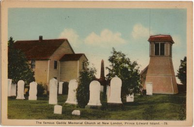 , The famous Gedde Memorial Church at New London, Prince Edward Island. (1575), PEI Postcards