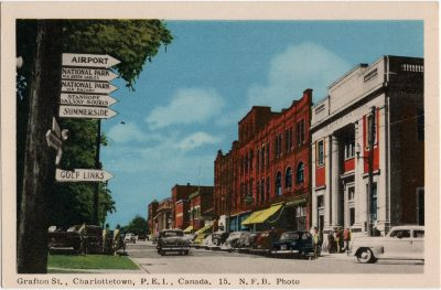 , Grafton St., Charlottetown, P.E.I. Canada. N.F.B. Photo. (1603), PEI Postcards