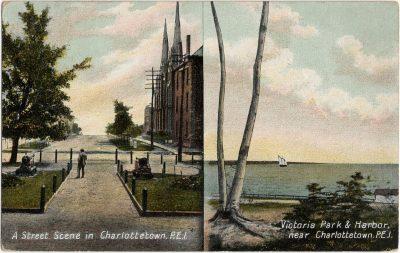 , A Street Scene in Charlottetown, P.E.I. / Victoria Park & Harbor, near Charlottetown, P.E.I. (1667), PEI Postcards