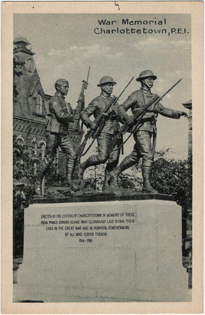 , War Memorial, Charlottetown, P.E.I. (1671), PEI Postcards