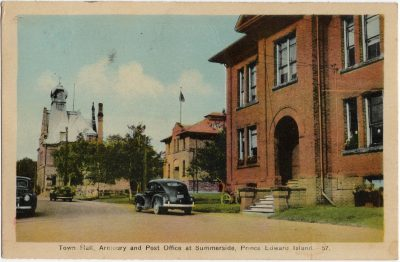 , Town Hall, Armoury and Post Office at Summerside, Prince Edward Island. (1640), PEI Postcards