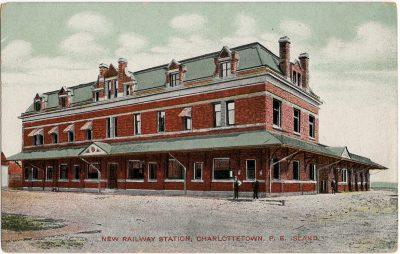 , New Railway Station, Charlottetown, P.E. Island. (1702), PEI Postcards