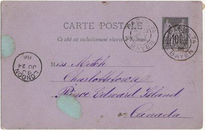 , Carte Postale {Paris to Charlottetown} (1740), PEI Postcards