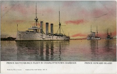 , Prince Battenburg's Fleet in Charlottetown Harbour Prince Edward Island (1748), PEI Postcards