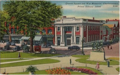 , Queens Square and War Memorial, Charlottetown, Prince Edward Island. (1755), PEI Postcards