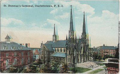 , St. Dunstan's Cathedral, Charlottetown, P.E.I.  {significant colour shift} (1761), PEI Postcards