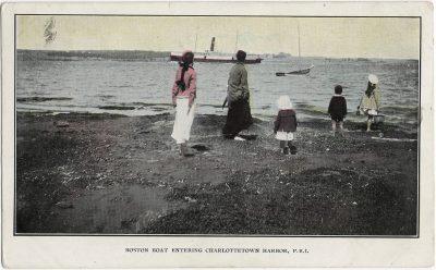 , Boston Boat Entering Charlottetown Harbor, P.E.I. (1767), PEI Postcards