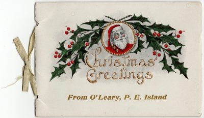 , Christmas Greetings From O'Leary, P.E. Island / Woodstock Row, P.E. Island / Snow Scene P.E.I.     1905 {Christmas card} (1772), PEI Postcards