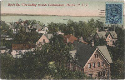 , Bird's Eye View looking towards Charlottetown, Harbor, P.E.I. (1744), PEI Postcards