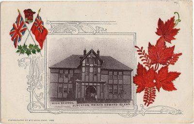 , High School, Alberton, Prince Edward Island. Copyrighted by Atkinson Bros 1905. (1787), PEI Postcards