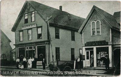 , Sea View Hotel and Mabon's Drug Store, Souris, P.E.I. (1803), PEI Postcards