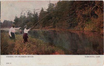 , Fishing on Humber River Toronto, Can {actually a PEI scene} (1821), PEI Postcards