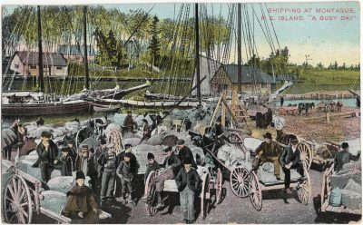 """, Shipping at Montague, P.E. Island. """"A Busy Day"""". {may be cropped} (1826), PEI Postcards"""