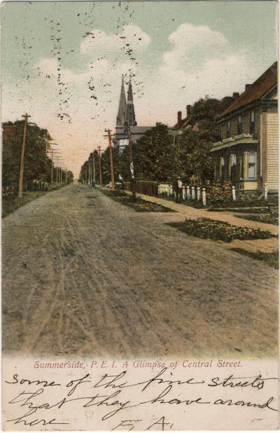 , Summerside, P.E.I. A Glimpse of Central Street. (1844), PEI Postcards