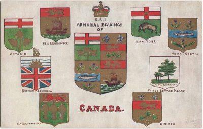 , Armorial Bearings of Canada. (1850), PEI Postcards