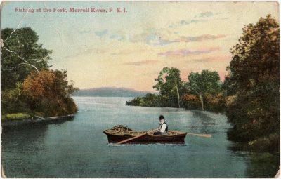 , Fishing at the Fork, Morrell River, P.E.I. (1889), PEI Postcards