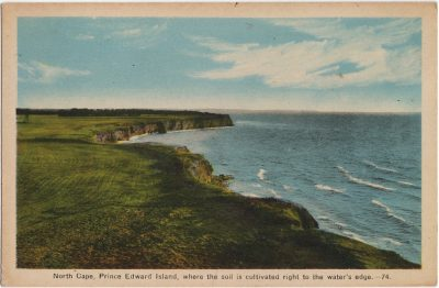 , North Cape, Prince Edward Island, where the soil is cultivated right to the water's edge. (1891), PEI Postcards