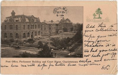 , Post Office, Parliament Building and Court House, Charlottetown (1917), PEI Postcards