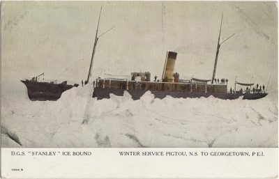 """, D.G.S. """"Stanley"""" Ice Bound Winter Service Pigtou, N.S. to Georgetown, P.E.I. (Pigtou variant) (1910), PEI Postcards"""