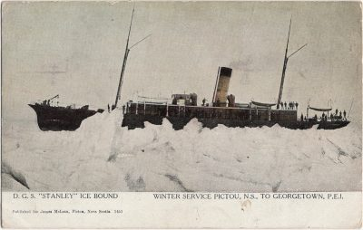 """, D.G.S. """"Stanley"""" Ice Bound Winter Service Pictou, N.S. to Georgetown, P.E.I. Published for James     McLean, Pictou, Nova Scotia. (1923), PEI Postcards"""