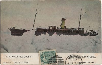 """, S.S. """"Stanley"""" Ice Bound Neat Georgetown, P.E.I. (1925), PEI Postcards"""