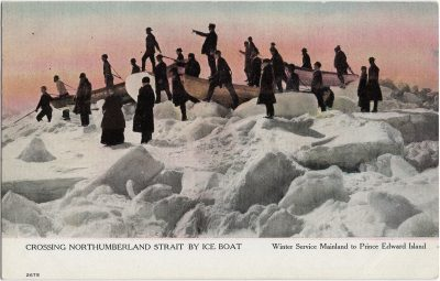 , Crossing Northumberland Strait by Ice Boat Winter Service Mainland to Prince Edward Island (1926), PEI Postcards