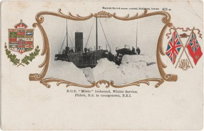 """, D.G.S. """"Minto"""" Icebound, Winter Service, Pictou N.S. to Georgetown, P.E.I. (1927), PEI Postcards"""