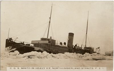 , C.G.S. Minto in Heavy Ice, Northumberland Straits, P.E.I. (1933), PEI Postcards
