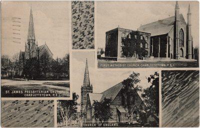 , St James Presbyterian Church / First Methodist Church / Church of England Charlottetown, P.E.I. (1934), PEI Postcards