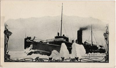 , S.S. Minto, crossing Northumberland Strait in winter. (1958), PEI Postcards