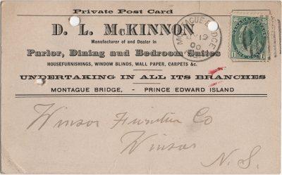 , D.L. McKinnon, Manufacturer of and Dealer in Parlor, Dining and Bedroom Suites, etc. (1976), PEI Postcards