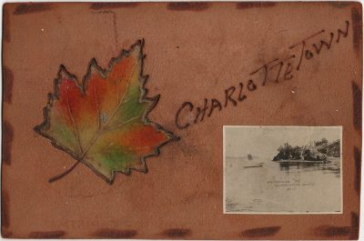 , Charlottetown Entrance to Charlottetown PEI {leather} {local dead letter office} (2019), PEI Postcards