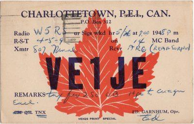 , QSL Card VE1JE Ed Garnhum Operator, Oct 26 1948. (2030), PEI Postcards