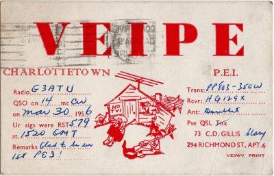 , QSL Card VE1PE C.D. Gillis 30 March 1956. (2039), PEI Postcards