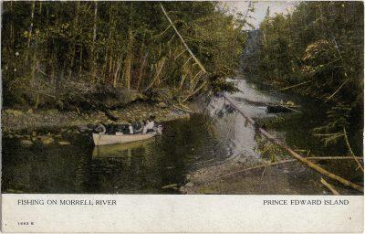 , Fishing on Morrell River Prince Edward Island (2051), PEI Postcards
