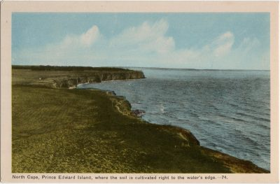 , North Cape, Prince Edward Island, where the soil is cultivated right to the water's edge. (2101), PEI Postcards