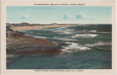 , Cavendish Beach from Lone Rock. Prince Edward Island National Park, P.E.I. Canada (2120), PEI Postcards