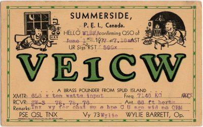 , QSL Card VE1CW Summerside PEI Wylie Barrett, 1 June 1937 (2108), PEI Postcards