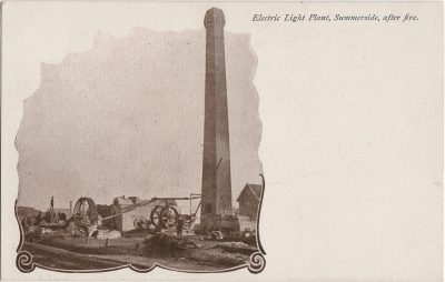 , Electric light Plant, Summerside, after fire. (2144), PEI Postcards