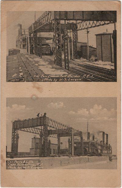 , Car Ferry, Port Borden P.E.I.; Car Ferry & Lifts, Cape Tormentine, N.B. Photos by W.S. Louson. (2191), PEI Postcards